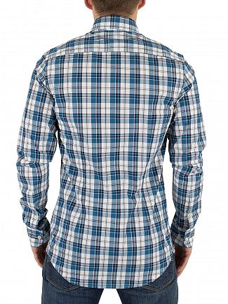 Tommy Hilfiger Sapphire/Classic White/Multi Stewart Checked Slim Fit Logo Shirt