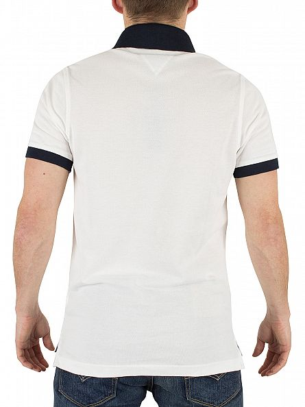 tommy hilfiger classic white jacquard slim fit logo polo shirt. Black Bedroom Furniture Sets. Home Design Ideas