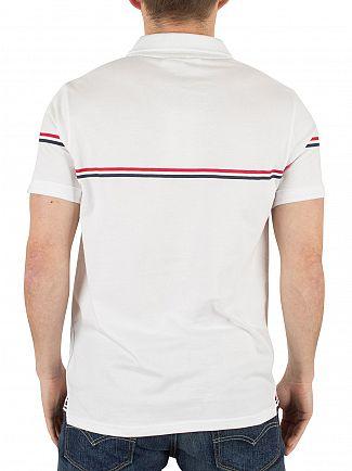 Fila Vintage White Martelli Printed Stripe Logo Polo Shirt