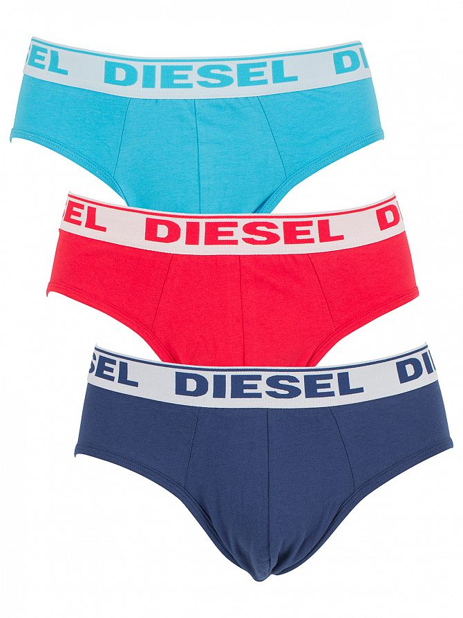 Diesel Turquoise/Red/Blue Andre Three Pack Fresh & Bright Logo Briefs