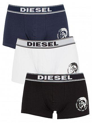 Diesel Black/White/Navy Shawn Three Pack Logo Trunks