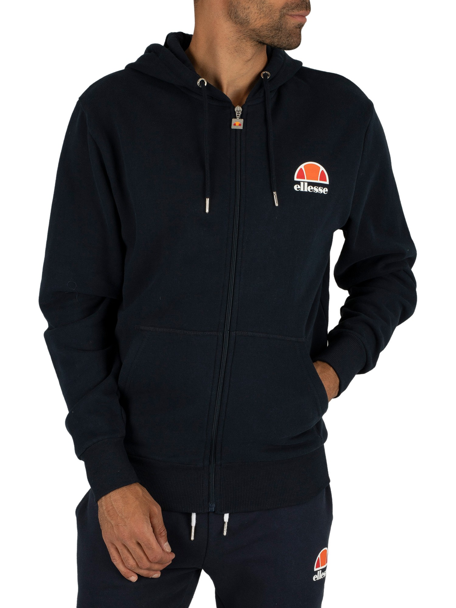 ellesse herren miletto zip hoodie logo blau ebay. Black Bedroom Furniture Sets. Home Design Ideas