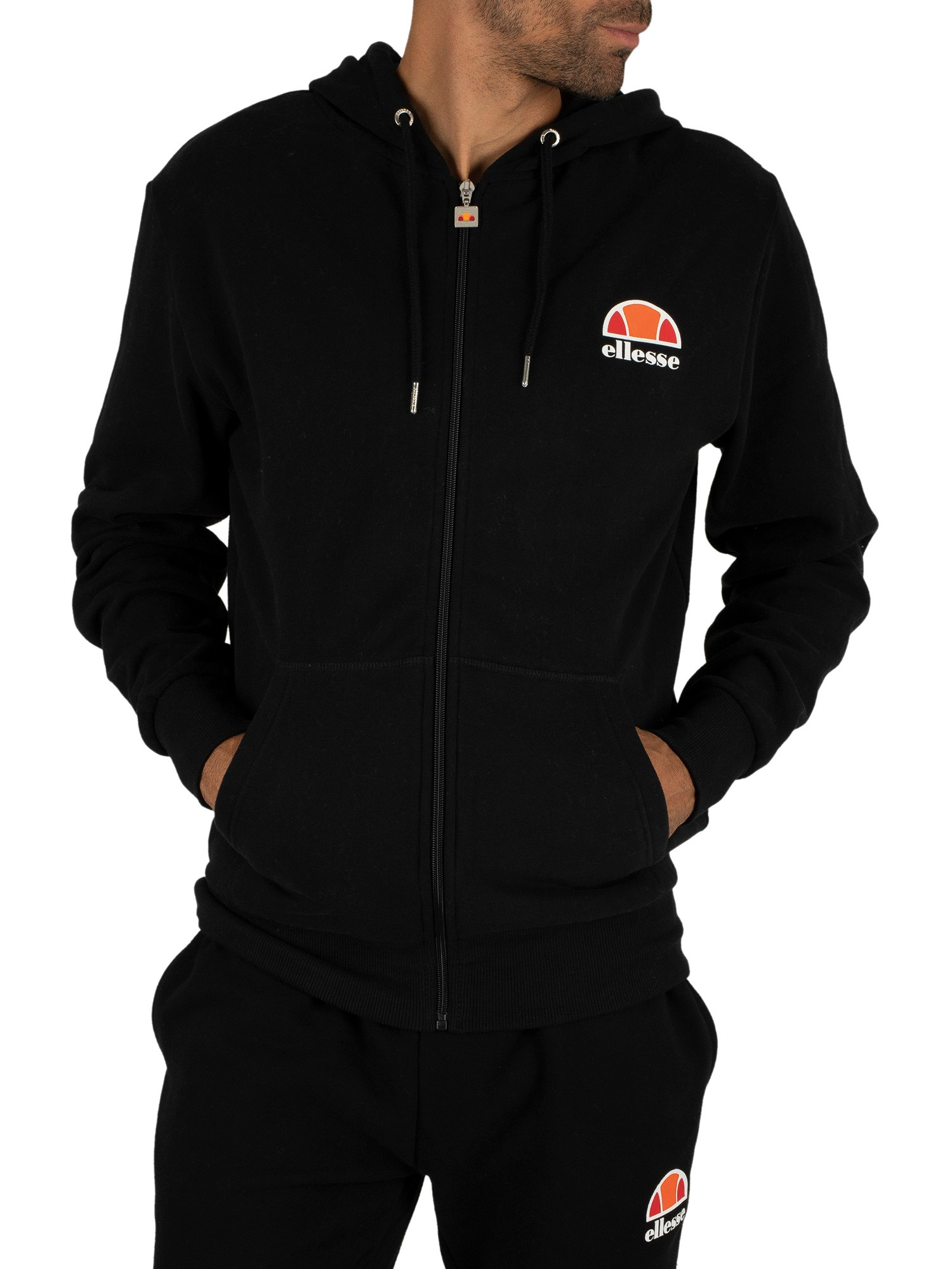ellesse herren miletto zip hoodie logo schwarz ebay. Black Bedroom Furniture Sets. Home Design Ideas