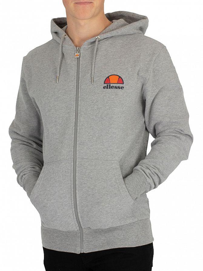 Ellesse Athletic Grey Marl Miletto Zip Logo Hoodie