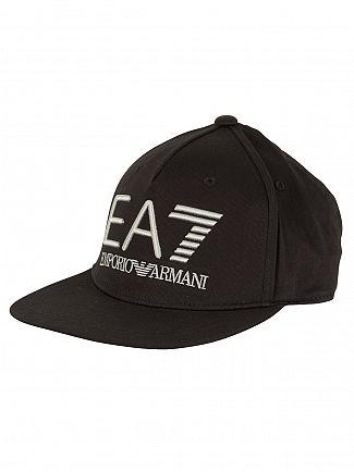 Emporio Armani Black Ea7 Logo Snapback Cap