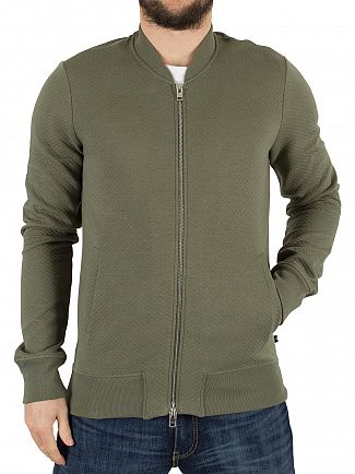 J Lindeberg Military Green Randall Micro Quilt Bomber Jacket