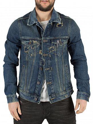 Scotch & Soda Rocky Road Amsterdam Blauw Denim Ripped Jacket