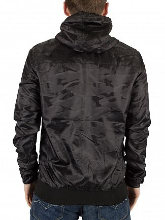 11 Degrees Black Hailstorm Hooded Camo Logo Jacket