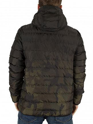 11 Degrees Camo Fade Snow Logo Puffa Jacket