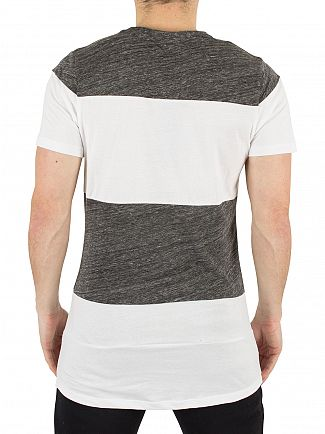 Hype White/Charcoal Holmes Dished Striped Crest Logo T-Shirt