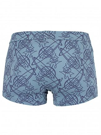 Vivienne Westwood Light Blue All Over Logo Pattern Trunks
