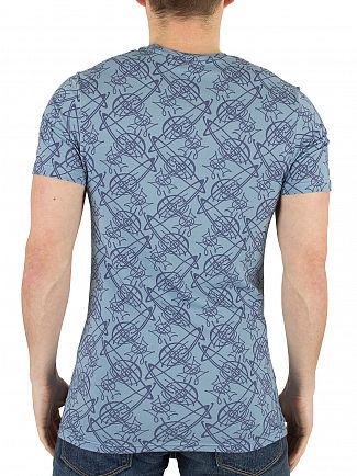 Vivienne Westwood Light Blue All Over Logo Pattern T-Shirt