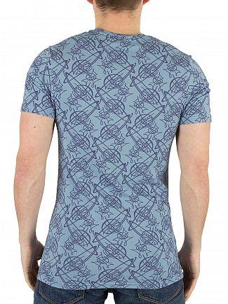 Vivienne Westwood Light Blue All Over Logo Pattern T-Shirt
