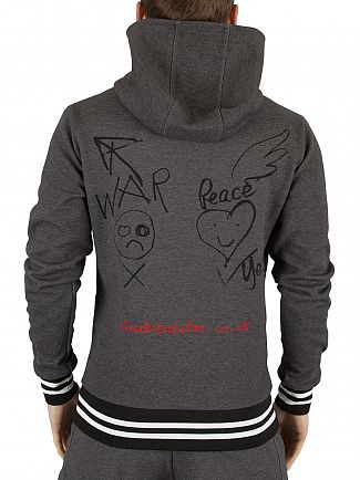 Vivienne Westwood Charcoal Workers War & Peace Tipped Zip Hoodie