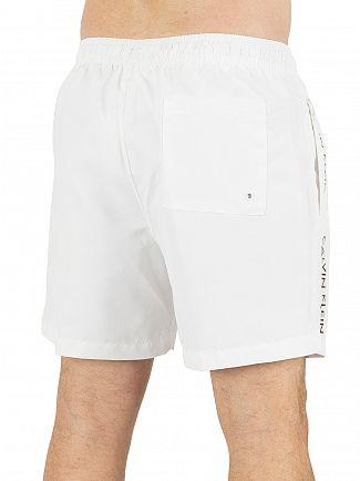 Calvin Klein White Medium Drawstring Vertical Logo Swimshorts