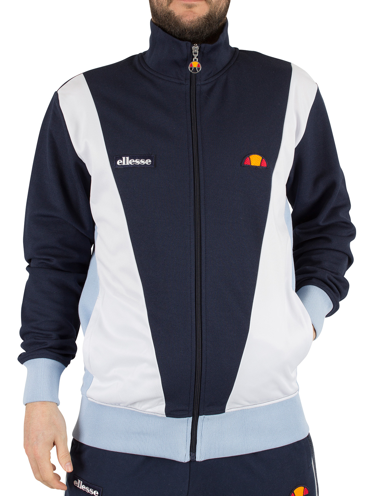ellesse herren vilas logo tracktop jacke blau ebay. Black Bedroom Furniture Sets. Home Design Ideas