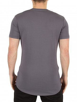 Gym King Steel Grey Long Line Curved Hem Logo T-Shirt