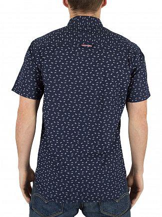 Hilfiger Denim Ditsy Print/Black Iris All Over Pattern Triangle Logo Shirt