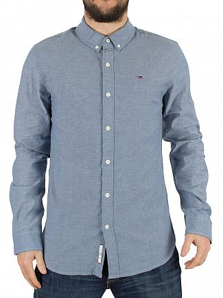 Hilfiger Denim Mid Indigo Chambray Regular Fit Logo Shirt