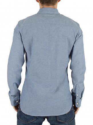 Hilfiger Denim Mid Indigo Chambray Regular Fit Logo Shirt