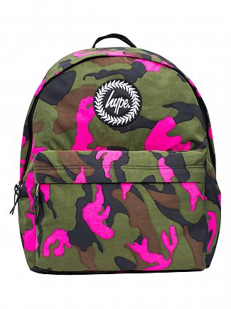 Hype Green/Pink Camo Vida Print Logo Backpack