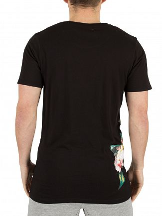Hype Black Floral Side Logo T-Shirt