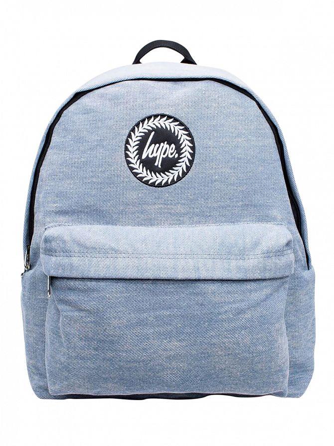 Hype Blue Wash Denim Logo Backpack