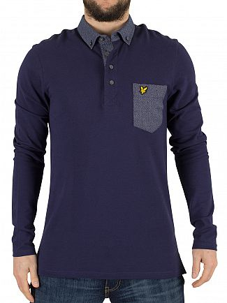 Lyle & Scott Navy Longsleeved Pocket Logo Polo Shirt