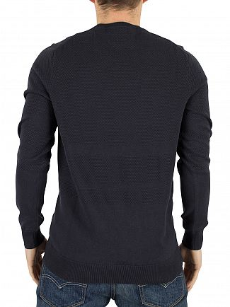 Lyle & Scott Navy Textured Stripe Knit