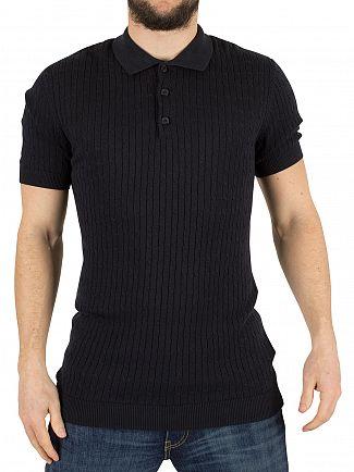 Minimum Dark Navy Bay Cable Knit Logo Polo Shirt