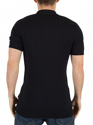 Minimum Dark Navy Bay Cable Knit Logo Polo Shirt
