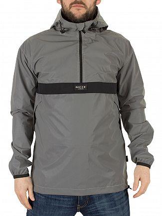 Nicce London Silver Linear Kagoule Half Zip Jacket