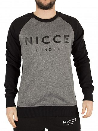 Nicce London Grey Linear Raglan Logo Sweatshirt