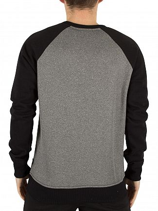 Nicce London Grey Linear Raglan Logo Sweatshirt