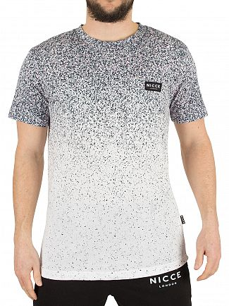 Nicce London White Speckle Fade Print Logo T-Shirt