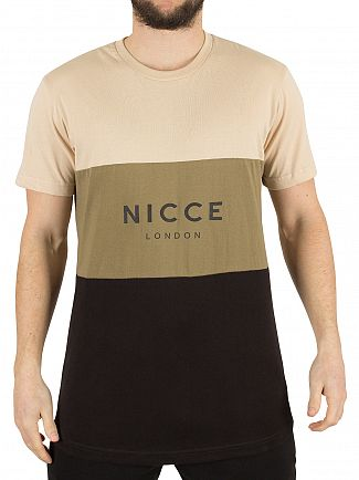 Nicce London Stone/Khaki/Black Triple Panel Logo T-Shirt
