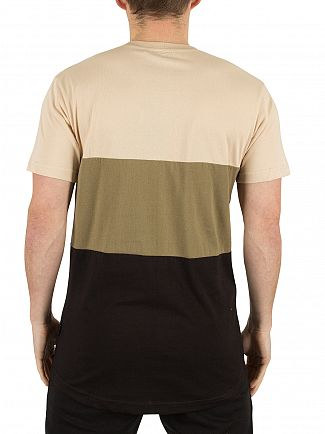 Nicce London Stone/Khaki/Black Triple Panel Logo T-Shirt