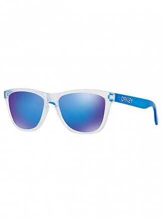 Oakley Matte Clear Matte Transparent Blue/Sapphire Iridium Frogskins Sunglasses