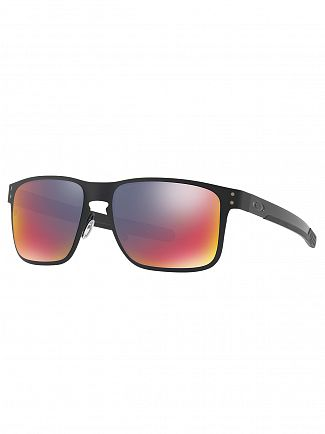 Oakley Matte Black/Red Iridium Holbrook Metal Sunglasses