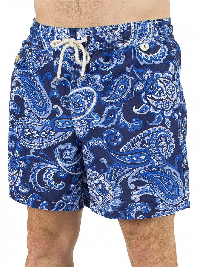 Polo Ralph Lauren Blue Traveller Paisley Logo Swimshorts