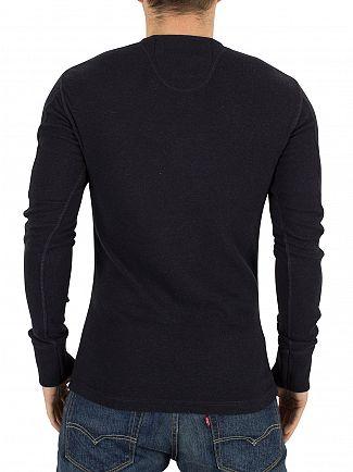 Superdry Dark Eclipse Navy Marl Heritage Longsleeved Grandad T-Shirt