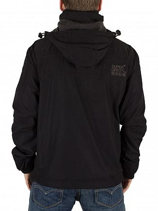 Superdry Deep Black Microfibre Wind Attacker Hooded Jacket