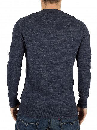 Superdry Indigo Grindle Orange Label Marled Logo Knit