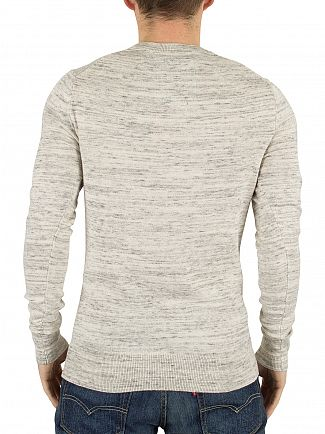 Superdry Limestone Grindle Orange Label Marled Logo Knit