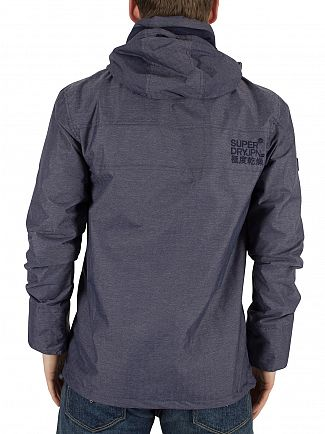 Superdry Navy Harringbone/Dark Navy Tech Hood Windcheater Zip Jacket