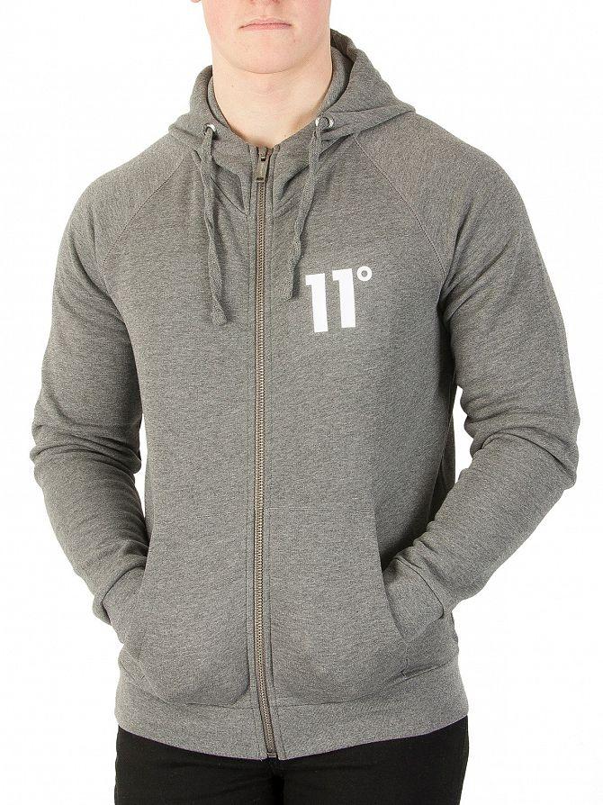 11 Degrees Charcoal Core Zip Logo Hoodie