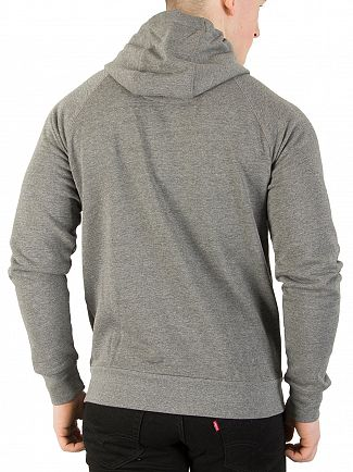 11 Degrees Charcoal Core Zip Logo Hoodie