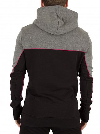 11 Degrees Charcoal/Black/Berry Cut & Sew Logo Hoodie