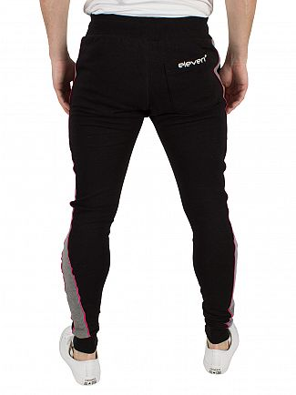 11 Degrees Charcoal/Black/Berry Cut & Sew Skinny Logo Joggers