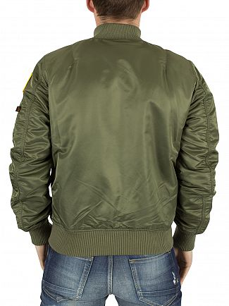 Alpha Industries Sage Green MA-1 VF NASA Logo Bomber Jacket